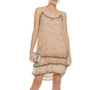 Joie Geddy Tiered Embellished Tulle Mini Dress SM